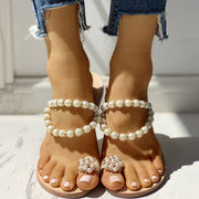 Beaded Design Toe Ring Casual Sandals - Shop Shiningbabe - Womens Fashion Online Shopping Offering Huge Discounts on Shoes - Heels, Sandals, Boots, Slippers; Clothing - Tops, Dresses, Jumpsuits, and More.