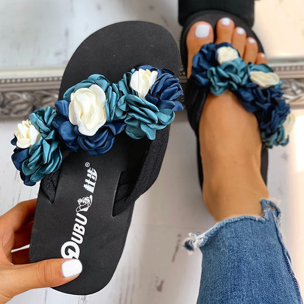 Ruched Flower Embellished Platform Sandals - Shop Shiningbabe - Womens Fashion Online Shopping Offering Huge Discounts on Shoes - Heels, Sandals, Boots, Slippers; Clothing - Tops, Dresses, Jumpsuits, and More.