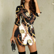 Chains Print Belted Casual Shirt Dress - Shop Shiningbabe - Womens Fashion Online Shopping Offering Huge Discounts on Shoes - Heels, Sandals, Boots, Slippers; Clothing - Tops, Dresses, Jumpsuits, and More.