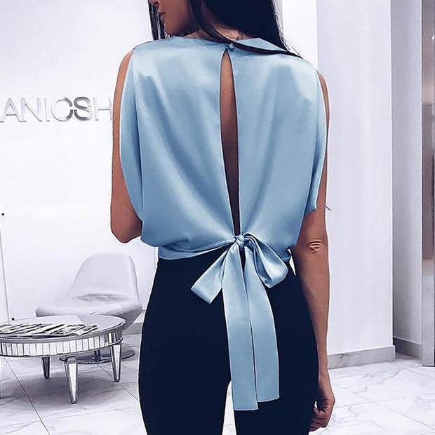 Solid Slit Knotted Back Casual Blouse - Shop Shiningbabe - Womens Fashion Online Shopping Offering Huge Discounts on Shoes - Heels, Sandals, Boots, Slippers; Clothing - Tops, Dresses, Jumpsuits, and More.
