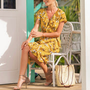 Yellow Printed V-neck Midi Dress - Shop Shiningbabe - Womens Fashion Online Shopping Offering Huge Discounts on Shoes - Heels, Sandals, Boots, Slippers; Clothing - Tops, Dresses, Jumpsuits, and More.