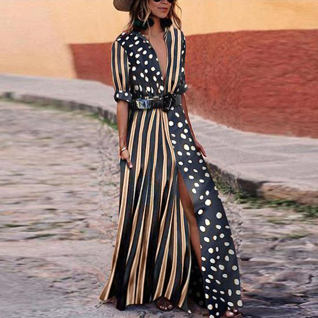 Dots & Stripes Plunge Slit Maxi Dress - Shop Shiningbabe - Womens Fashion Online Shopping Offering Huge Discounts on Shoes - Heels, Sandals, Boots, Slippers; Clothing - Tops, Dresses, Jumpsuits, and More.