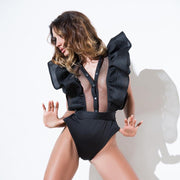 Sexy Lotus Leaf Sleeve Mesh Rompers - Shop Shiningbabe - Womens Fashion Online Shopping Offering Huge Discounts on Shoes - Heels, Sandals, Boots, Slippers; Clothing - Tops, Dresses, Jumpsuits, and More.