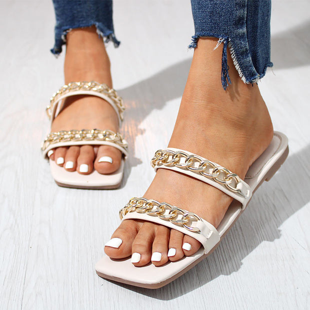 Fashion Beach Metal Chain Flat Sandals Slippers - Shop Shiningbabe - Womens Fashion Online Shopping Offering Huge Discounts on Shoes - Heels, Sandals, Boots, Slippers; Clothing - Tops, Dresses, Jumpsuits, and More.