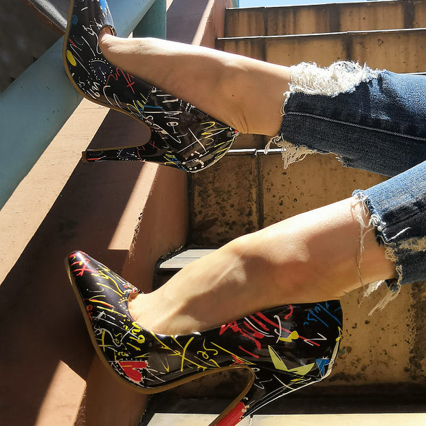 Printed Pointed Shallow Mouth High Heels - Shop Shiningbabe - Womens Fashion Online Shopping Offering Huge Discounts on Shoes - Heels, Sandals, Boots, Slippers; Clothing - Tops, Dresses, Jumpsuits, and More.