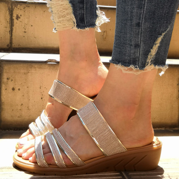 Shiny Golden Rim Open Toe Flat Sandals - Shop Shiningbabe - Womens Fashion Online Shopping Offering Huge Discounts on Shoes - Heels, Sandals, Boots, Slippers; Clothing - Tops, Dresses, Jumpsuits, and More.