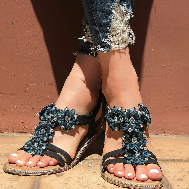 Fashion Rhinestone Flower Flat Sandals - Shop Shiningbabe - Womens Fashion Online Shopping Offering Huge Discounts on Shoes - Heels, Sandals, Boots, Slippers; Clothing - Tops, Dresses, Jumpsuits, and More.