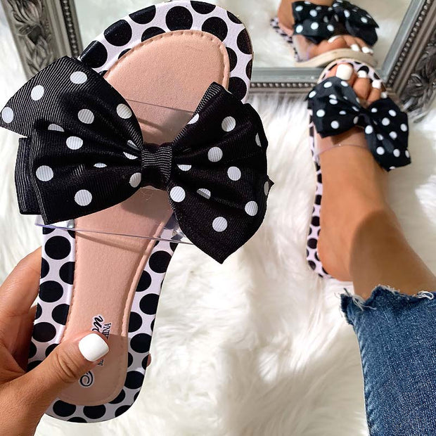 Fashion Polka Dot Bow Flat Sandals - Shop Shiningbabe - Womens Fashion Online Shopping Offering Huge Discounts on Shoes - Heels, Sandals, Boots, Slippers; Clothing - Tops, Dresses, Jumpsuits, and More.