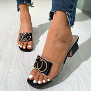 Stylish Metal Letters Low Heel Chunky Sandals - Shop Shiningbabe - Womens Fashion Online Shopping Offering Huge Discounts on Shoes - Heels, Sandals, Boots, Slippers; Clothing - Tops, Dresses, Jumpsuits, and More.