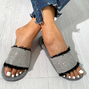 Fashion Rhinestone Simple Flat Sandals Slippers - Shop Shiningbabe - Womens Fashion Online Shopping Offering Huge Discounts on Shoes - Heels, Sandals, Boots, Slippers; Clothing - Tops, Dresses, Jumpsuits, and More.