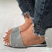 Fashion Rhinestone Square Head Flat Sandals - Shop Shiningbabe - Womens Fashion Online Shopping Offering Huge Discounts on Shoes - Heels, Sandals, Boots, Slippers; Clothing - Tops, Dresses, Jumpsuits, and More.