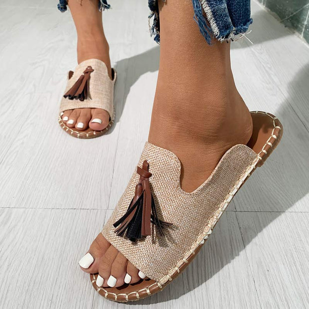 Fashion Tassel Pendant Woven Flat Sandals - Shop Shiningbabe - Womens Fashion Online Shopping Offering Huge Discounts on Shoes - Heels, Sandals, Boots, Slippers; Clothing - Tops, Dresses, Jumpsuits, and More.