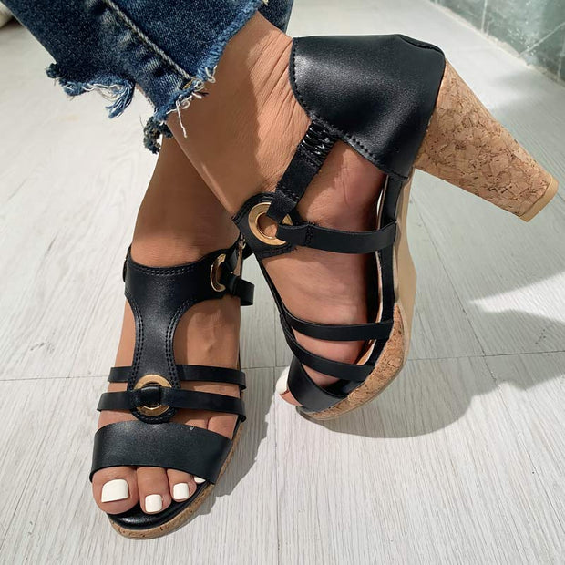 Fashion Solid Color Leather Lace Up Chunky Heel Sandals - Shop Shiningbabe - Womens Fashion Online Shopping Offering Huge Discounts on Shoes - Heels, Sandals, Boots, Slippers; Clothing - Tops, Dresses, Jumpsuits, and More.