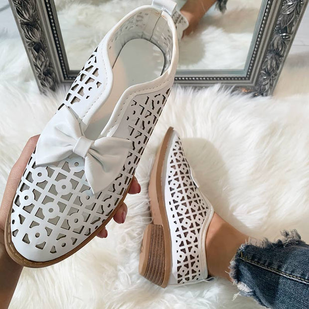 Fashion Pointed Toe Bow Hollow Out Shoes