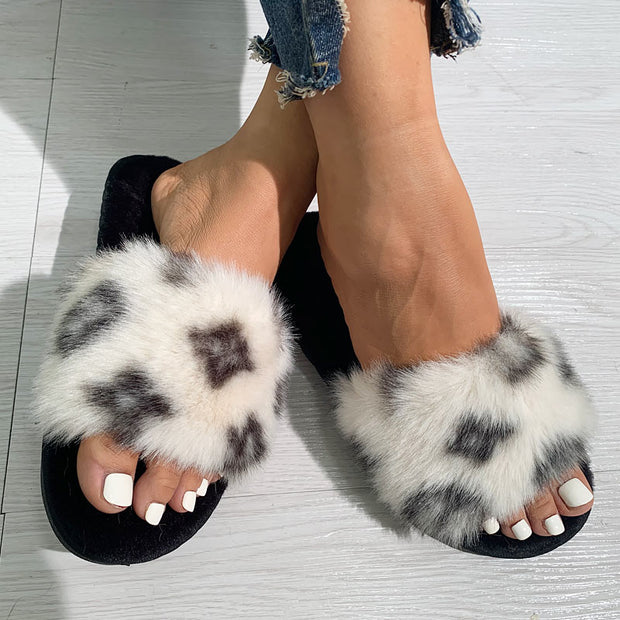 Casual Pattern Print Fluffy Sandals