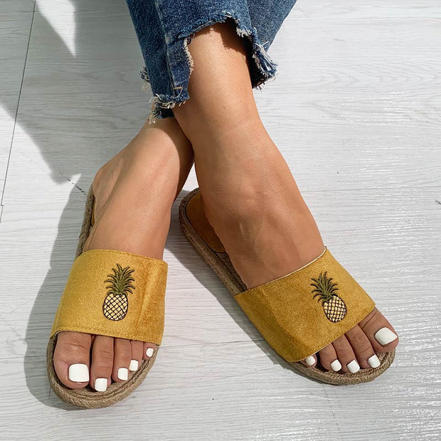 Pineapple Pattern Casual Flat Sandals