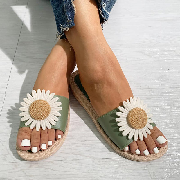 Flower Pattern Casual Flat Sandals