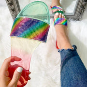 Rainbow Rhinestone Transparent Flat Sandals