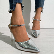 Solid One Strap Patent Leather High Heels