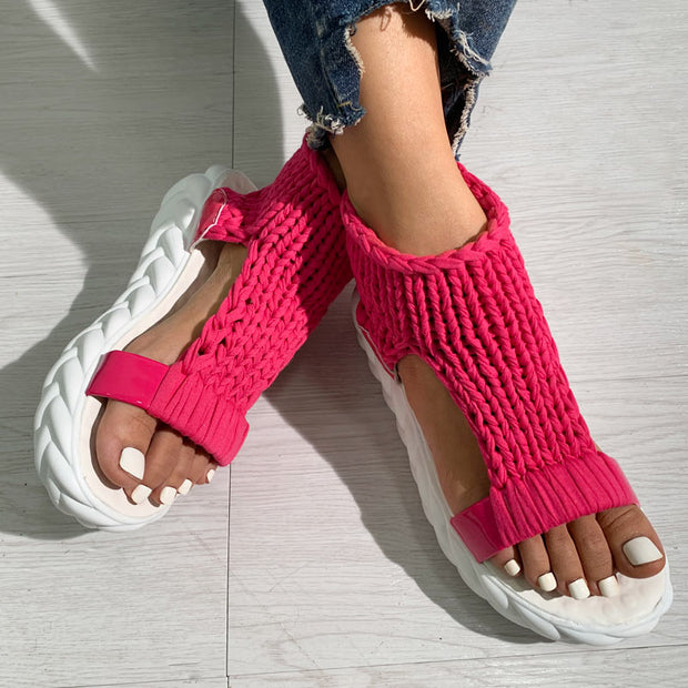 Knitted Open Toe Cutout Sandals