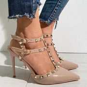 Solid Rivet Ankle Strap High Heels