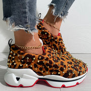 Leopard Print Rivet Casual Sneakers
