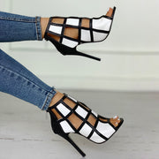 Contrast Color Peep Toe Caged High-heel Sandals - Shop Shiningbabe - Womens Fashion Online Shopping Offering Huge Discounts on Shoes - Heels, Sandals, Boots, Slippers; Clothing - Tops, Dresses, Jumpsuits, and More.