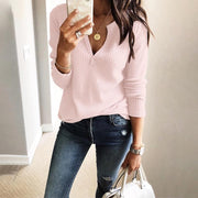 Solid V-Neck Long Sleeve Casual Top - Shop Shiningbabe - Womens Fashion Online Shopping Offering Huge Discounts on Shoes - Heels, Sandals, Boots, Slippers; Clothing - Tops, Dresses, Jumpsuits, and More.