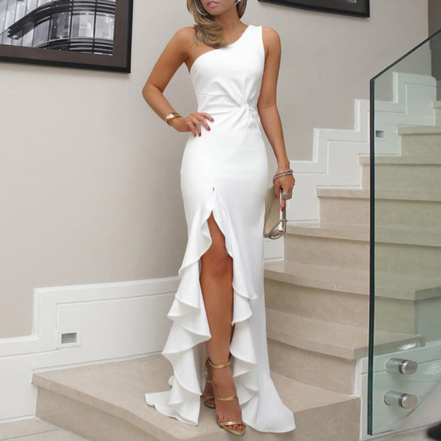 One Shoulder Twisted Ruffles Slit Hem Dress - Shop Shiningbabe - Womens Fashion Online Shopping Offering Huge Discounts on Shoes - Heels, Sandals, Boots, Slippers; Clothing - Tops, Dresses, Jumpsuits, and More.