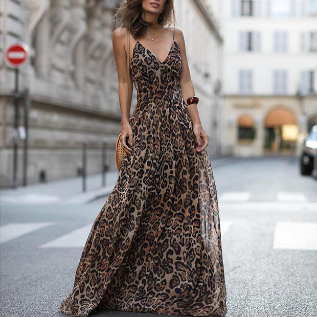 Leopard V Neck Spaghetti Strap Maxi Dress - Shop Shiningbabe - Womens Fashion Online Shopping Offering Huge Discounts on Shoes - Heels, Sandals, Boots, Slippers; Clothing - Tops, Dresses, Jumpsuits, and More.