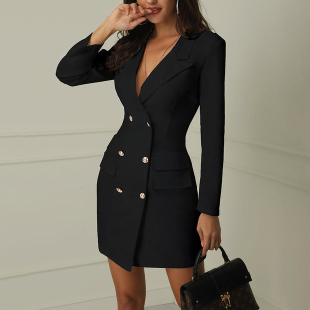 V-Neck Double Breasted Blazer Dress - Shop Shiningbabe - Womens Fashion Online Shopping Offering Huge Discounts on Shoes - Heels, Sandals, Boots, Slippers; Clothing - Tops, Dresses, Jumpsuits, and More.