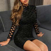 Glitter Hollow Out Bodycon Dress - Shop Shiningbabe - Womens Fashion Online Shopping Offering Huge Discounts on Shoes - Heels, Sandals, Boots, Slippers; Clothing - Tops, Dresses, Jumpsuits, and More.