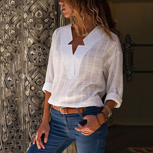 Star Design Neck Long Sleeve Casual Blouse - Shop Shiningbabe - Womens Fashion Online Shopping Offering Huge Discounts on Shoes - Heels, Sandals, Boots, Slippers; Clothing - Tops, Dresses, Jumpsuits, and More.