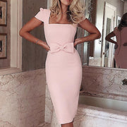 Square Neck Bowknot Midi Dress - Shop Shiningbabe - Womens Fashion Online Shopping Offering Huge Discounts on Shoes - Heels, Sandals, Boots, Slippers; Clothing - Tops, Dresses, Jumpsuits, and More.