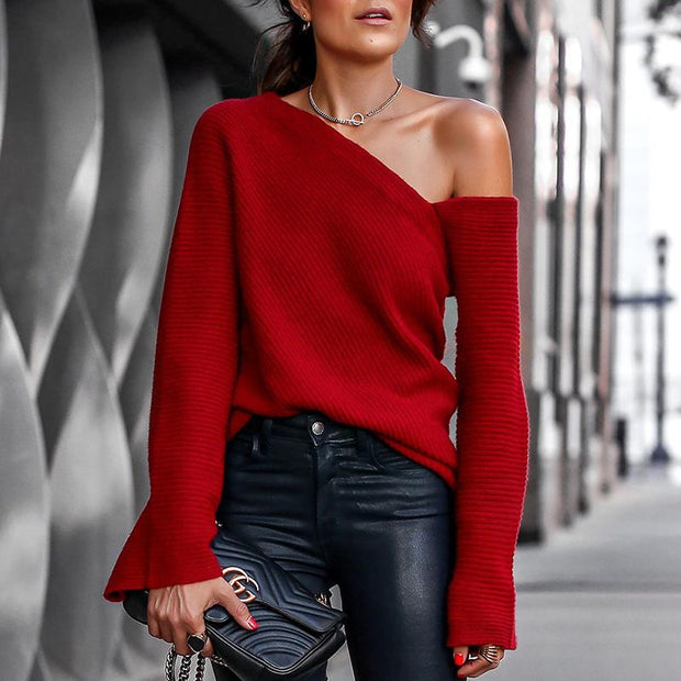 Bell Sleeve One Shoulder Pullover - Shop Shiningbabe - Womens Fashion Online Shopping Offering Huge Discounts on Shoes - Heels, Sandals, Boots, Slippers; Clothing - Tops, Dresses, Jumpsuits, and More.