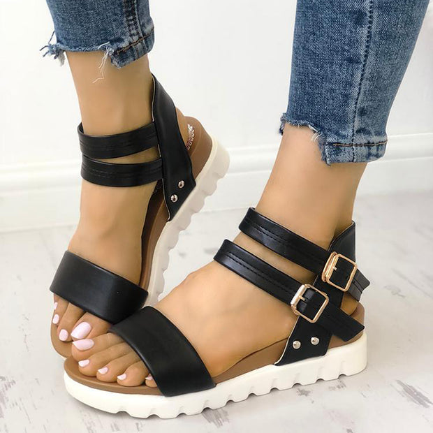 Fashion Leather Buckle Low Heel Sandals - Shop Shiningbabe - Womens Fashion Online Shopping Offering Huge Discounts on Shoes - Heels, Sandals, Boots, Slippers; Clothing - Tops, Dresses, Jumpsuits, and More.