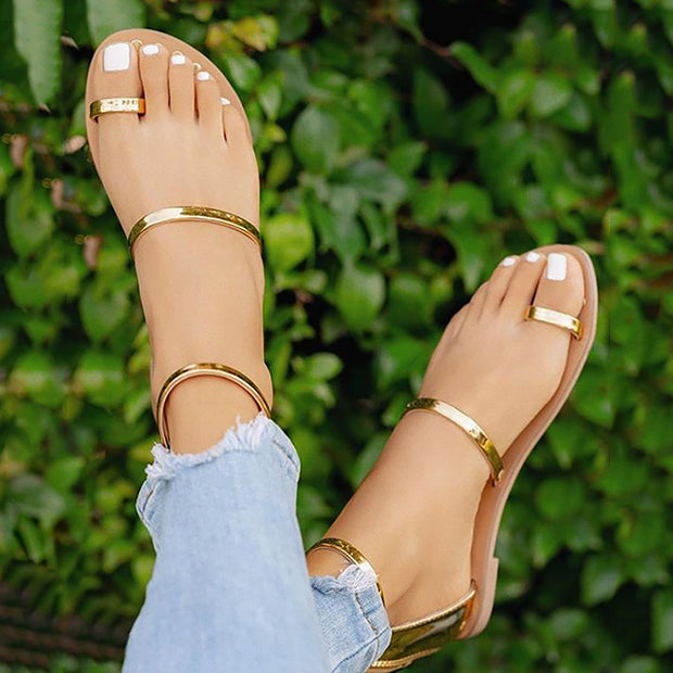 Concise Solid Toe Ring Flat Sandals - Shop Shiningbabe - Womens Fashion Online Shopping Offering Huge Discounts on Shoes - Heels, Sandals, Boots, Slippers; Clothing - Tops, Dresses, Jumpsuits, and More.