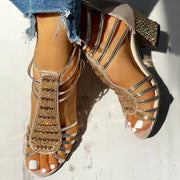 Studded Multi-Strap Chunky Sandals - Shop Shiningbabe - Womens Fashion Online Shopping Offering Huge Discounts on Shoes - Heels, Sandals, Boots, Slippers; Clothing - Tops, Dresses, Jumpsuits, and More.