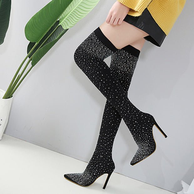 Pointed Rhinestone Over The Knee Elastic Boot - Shop Shiningbabe - Womens Fashion Online Shopping Offering Huge Discounts on Shoes - Heels, Sandals, Boots, Slippers; Clothing - Tops, Dresses, Jumpsuits, and More.