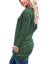 Round Neck Button Long Sleeve Pocket Top - Shop Shiningbabe - Womens Fashion Online Shopping Offering Huge Discounts on Shoes - Heels, Sandals, Boots, Slippers; Clothing - Tops, Dresses, Jumpsuits, and More.