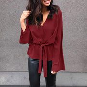 Fashion V-neck straps long-sleeved top - Shop Shiningbabe - Womens Fashion Online Shopping Offering Huge Discounts on Shoes - Heels, Sandals, Boots, Slippers; Clothing - Tops, Dresses, Jumpsuits, and More.