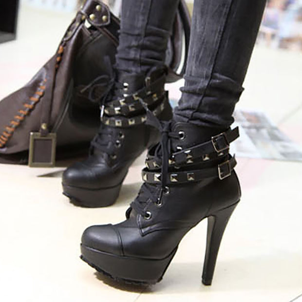 Fashion Rivet High Heel Boots - Shop Shiningbabe - Womens Fashion Online Shopping Offering Huge Discounts on Shoes - Heels, Sandals, Boots, Slippers; Clothing - Tops, Dresses, Jumpsuits, and More.