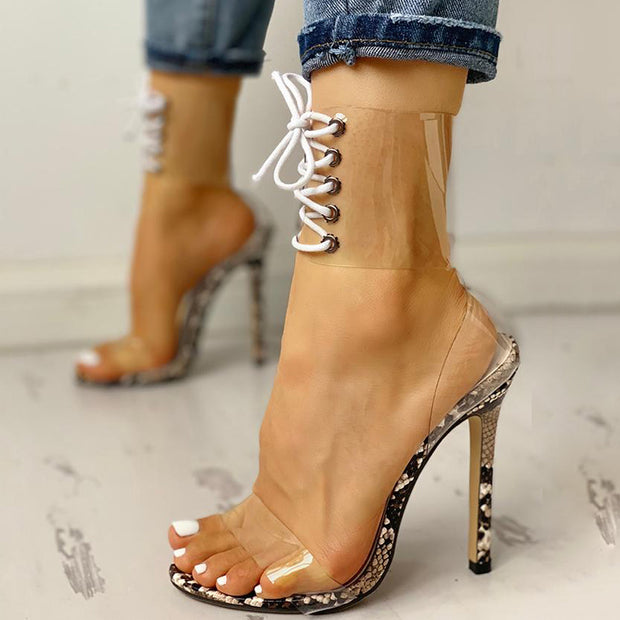 Transparent Lace-Up Single Strap Heeled Sandals - Shop Shiningbabe - Womens Fashion Online Shopping Offering Huge Discounts on Shoes - Heels, Sandals, Boots, Slippers; Clothing - Tops, Dresses, Jumpsuits, and More.