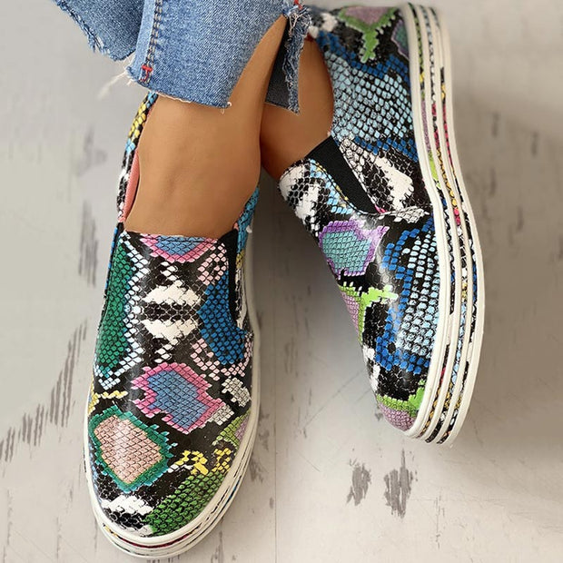 PU Snakeskin Print Flat Sneakers - Shop Shiningbabe - Womens Fashion Online Shopping Offering Huge Discounts on Shoes - Heels, Sandals, Boots, Slippers; Clothing - Tops, Dresses, Jumpsuits, and More.