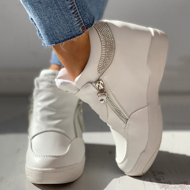 Zippper Studded Platform Wedges Casual Sneakers - Shop Shiningbabe - Womens Fashion Online Shopping Offering Huge Discounts on Shoes - Heels, Sandals, Boots, Slippers; Clothing - Tops, Dresses, Jumpsuits, and More.