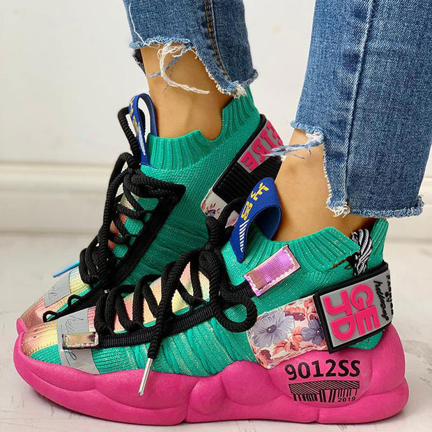Knitted Breathable Lace-Up Casual Sneakers - Shop Shiningbabe - Womens Fashion Online Shopping Offering Huge Discounts on Shoes - Heels, Sandals, Boots, Slippers; Clothing - Tops, Dresses, Jumpsuits, and More.