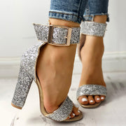 Stylish Sequin Open Toe Chunky Heeled Sandals - Shop Shiningbabe - Womens Fashion Online Shopping Offering Huge Discounts on Shoes - Heels, Sandals, Boots, Slippers; Clothing - Tops, Dresses, Jumpsuits, and More.