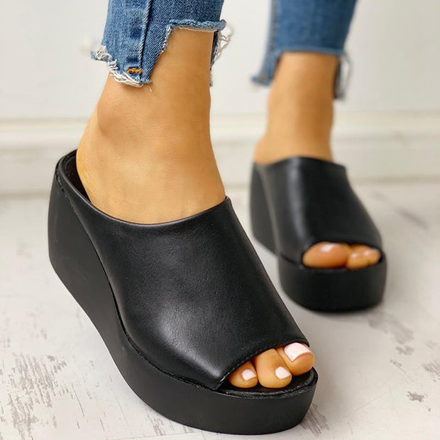 Peep Toe Muffin Wedge Sandals - Shop Shiningbabe - Womens Fashion Online Shopping Offering Huge Discounts on Shoes - Heels, Sandals, Boots, Slippers; Clothing - Tops, Dresses, Jumpsuits, and More.