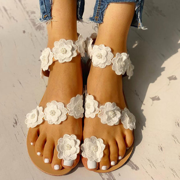 Flower Embellished Open Toe Flat Sandals - Shop Shiningbabe - Womens Fashion Online Shopping Offering Huge Discounts on Shoes - Heels, Sandals, Boots, Slippers; Clothing - Tops, Dresses, Jumpsuits, and More.