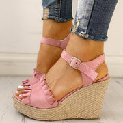 Women's Fashion Frills Hem Wedges Sandals - Shop Shiningbabe - Womens Fashion Online Shopping Offering Huge Discounts on Shoes - Heels, Sandals, Boots, Slippers; Clothing - Tops, Dresses, Jumpsuits, and More.